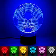 3D Soccer Football Night Light Desk Lamp, ProCIV Amazing 7 Colors Changing 3D illusion Touch Table Night Light Lamp for Kids (Soccer)