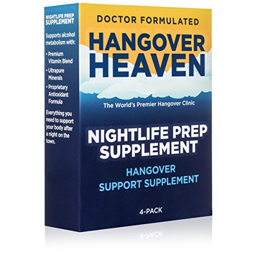 Hangover Heaven Nightlife Prep Supplement - Physician Formulated Pills Reduce Migraines, Dizziness, Nausea and Fatigue (4 Packets)