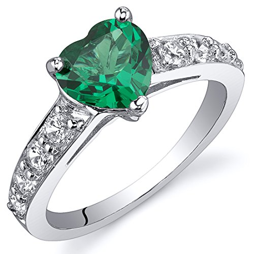 Simulated Emerald Ring Sterling Silver Rhodium Nickel Finish Heart Shape 1.00 Carats Size 7 (Emerald Shape Ring Setting)