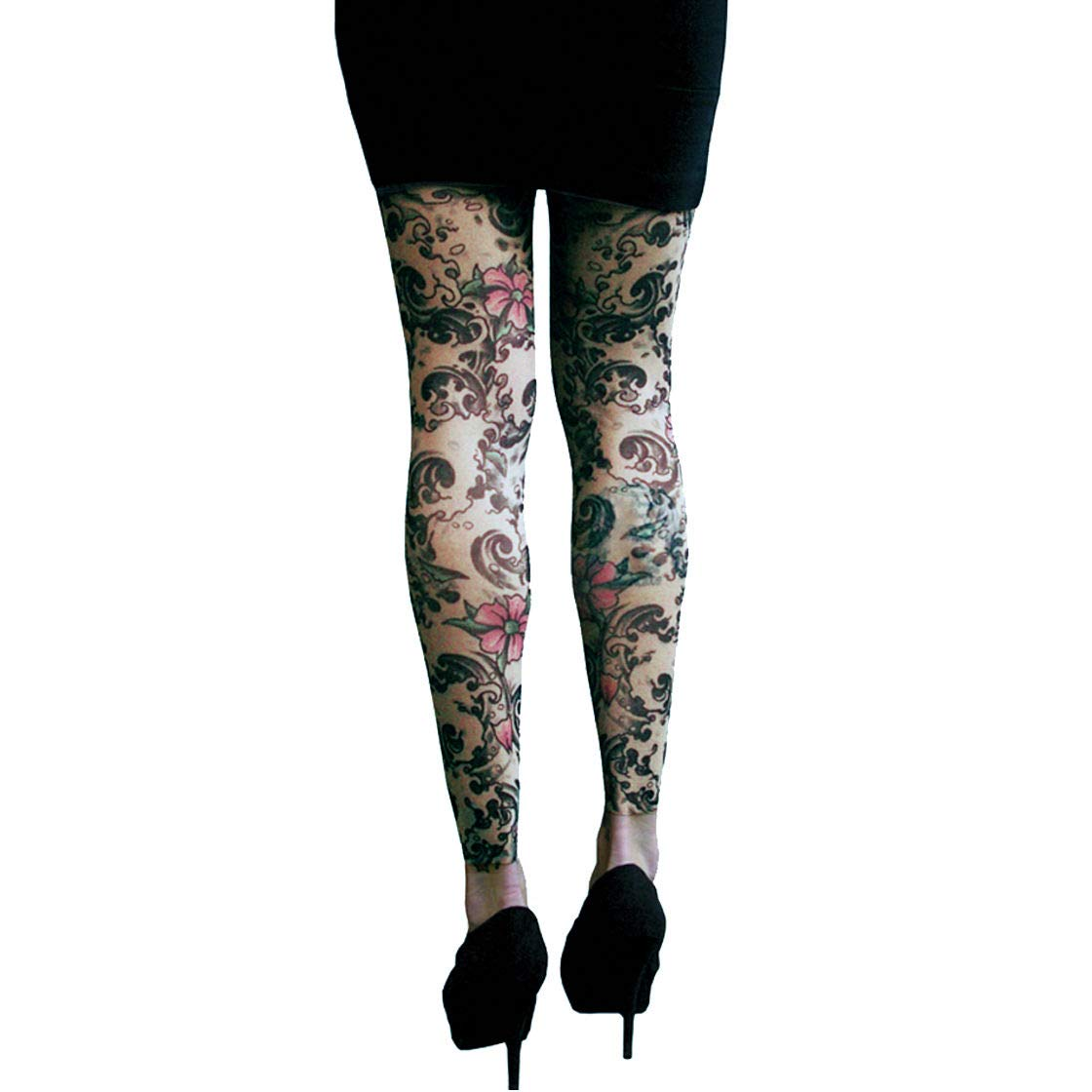 d4302f2f13f74 Wild Rose 102 Ladies Tattoo Illusion Mesh Leggings Footless Tights, Tan:  Amazon.co.uk: Clothing