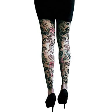 97b88baab Amazon.com: Wild Rose Ladies Cherry Blossom Tattoo Mesh Leggings ...