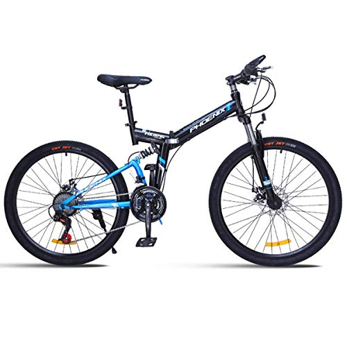 NZ-Children's bicycles Folding Mountain Bike for a Path, Trail & Mountains,Black, Aluminum Full Suspension Frame, Twist…
