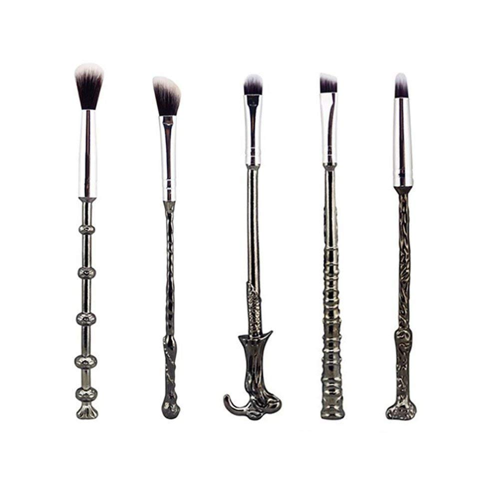 Wizard Wand Brushes,5 PCS Potter Makeup Brush Set for Foundation Blending Blush Concealer Eyebrow Face Powder