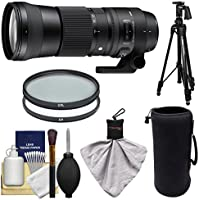 Sigma 150-600mm f/5.0-6.3 Contemporary DG OS HSM Zoom Lens for Nikon DSLR Cameras with Pistol Grip Tripod + UV & CPL Filters + Pouch + Kit
