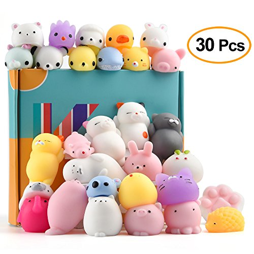 Animal Stress Balls - KUUQA 30Pcs Animal Squishies Toys Easter Egg Fillers Kawaii Squishy Panda Cat Paw Cute Mini Soft Squeeze Stress Reliever Balls Toys for Kids Adult Birthday Party Favors Bags