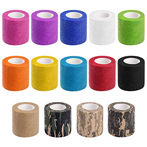 14 PCS Athletic, Sports wrap Tape & Bandage Wrap Stretch Self Adherent Tape for Wrist, Ankle, 2 Inch X 4.92Yard Per Roll (Pole Vault Grip Tape)