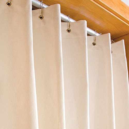 LIFEKIND Certified Organic Cotton Canvas Shower Curtain (72x72 Inches); Style: Chrome Grommets; Color: Natural - No Liner Needed