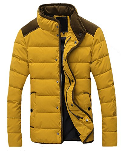 EKU Mens Casual Coat Zipper Button Hit Color Stand Collar Jacket yellow xl