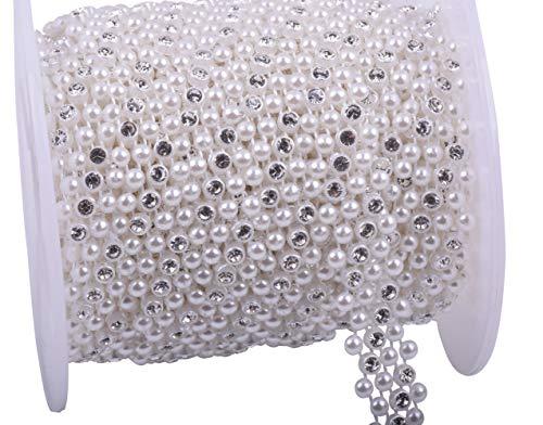 KAOYOO 10 Yards New Ivory Pearl with Rhinestone Chain Sew on Trims Wedding Dress Decoration Beaded Trim ()