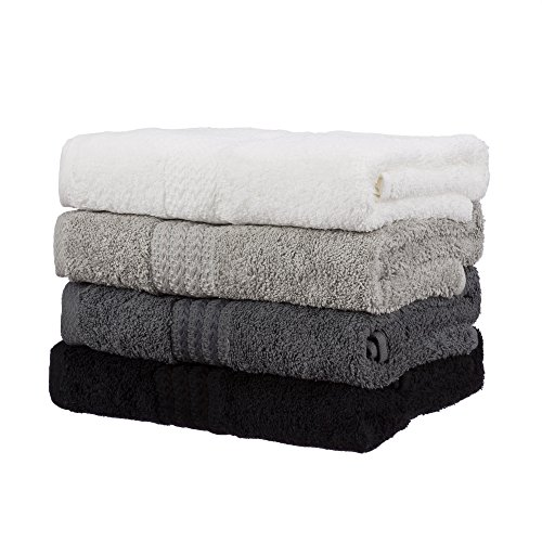 Hobby Rainbow Luxury 100% Turkish Cotton Hand Towel 4-Piece Set 5-Star Hotel & Spa-Grade Ultra-Absorbent & Super-Soft Hand Towels, Quick-Drying & Durable Gym Towels, Best Housewarming Gift! (4, Black)