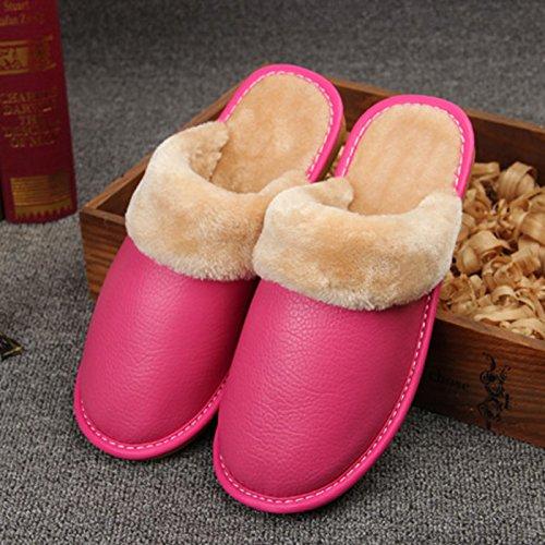 Fankou pantofole inverno scarpe di cotone di rimanere caldo scarpe uomini e donne paio di spessore della camera non-slip ,35-36, rosa