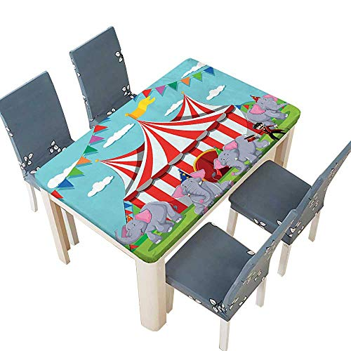 PINAFORE Waterproof SpillProof Tablecloth Circus Show at The Circuss Performance Fun Park Joy Design for Picnic,Outdoor or Indoor Party use W61 x L100 INCH (Elastic Edge) -