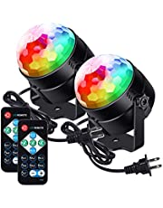 LUNSY Party Lights, Disco Ball Lights, Sound Activated Strobe Light, Remote Control, 7Pattens, Stage Lighting for Party Club Festival Wedding Show - 2Pack