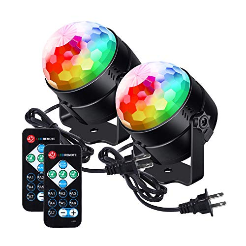 [Newest 2019]LUNSY Sound Activated Party Lights with Remote Control Dj Lighting, RBG Disco Ball Lamps, Strobe Lamp 7 Modes Stage Par Light for Home Dance Party Bar Xmas Wedding Show Club - (2PACK)]()