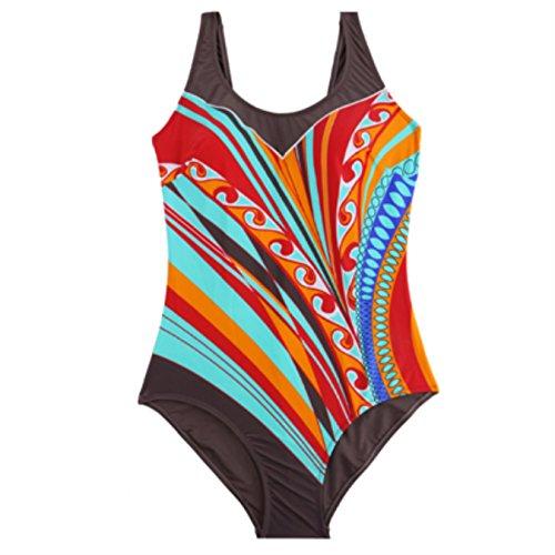 M&M One Piece Swimsuit Padded Plus Size Supple Swimwear Striped Patchwork Print Swimsuit Women Monokini Three Colors Optional