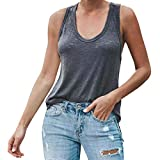 Ladies Tank Tops Solid O-Neck Vest Sleeveless Loose Crop Top Side Split Blouse (XL, Gray)