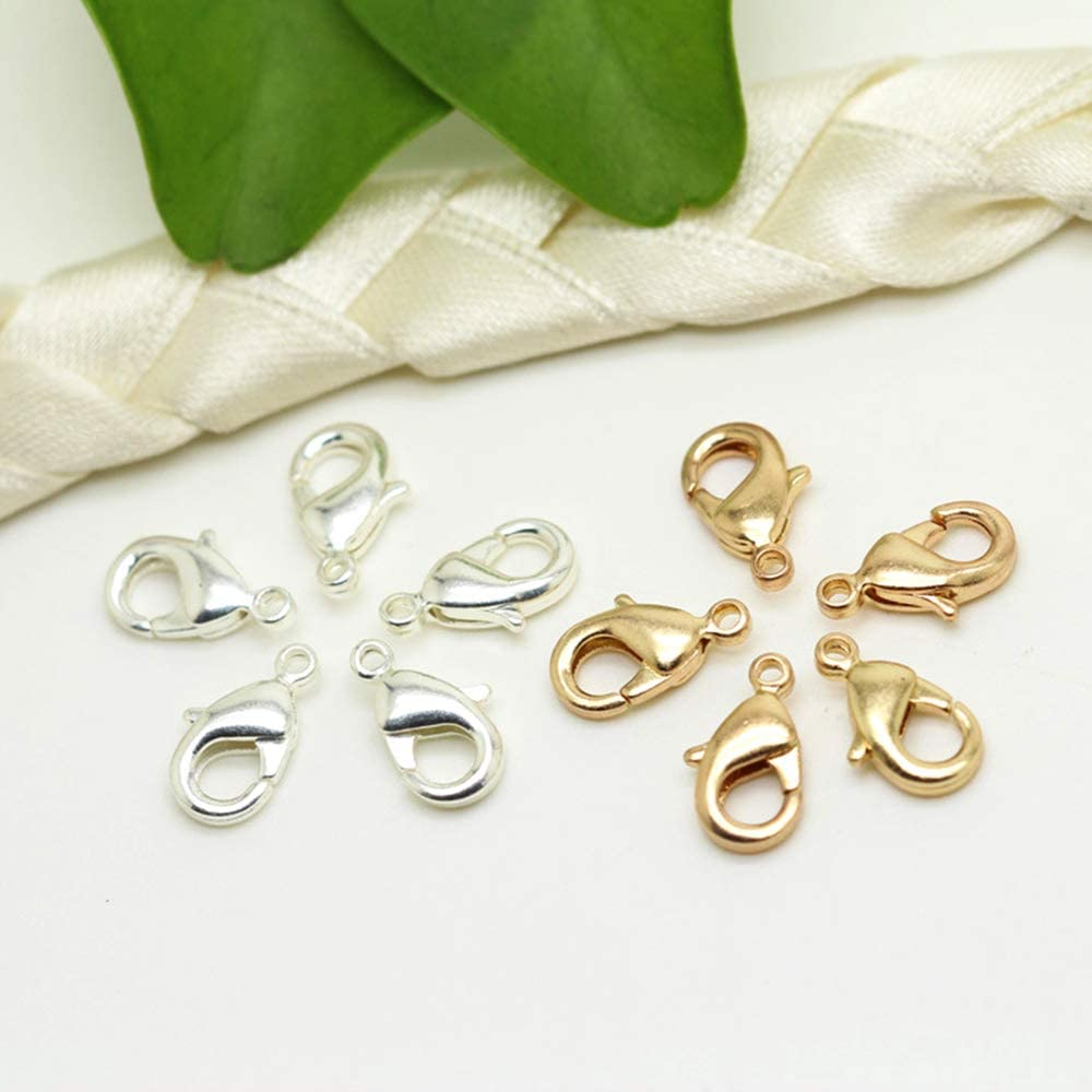 Xinlie Silver Plated Lobster Clasps Clasp Jewellery Finding in Nickel-Free Carabiner Lobster Clasp Lobster Claw Trigger Lobster Jewellery Clasps for Necklaces Bracelets Jewellery 300 PCS