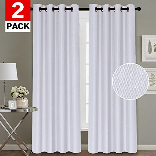 - H.VERSAILTEX White Curtain Home Fashion Thermal Insulated Room Darkening Drapery Rich Linen Grommet Extra Long Window Curtains for Living Room, 52 by 108 Inch (2 Panels)