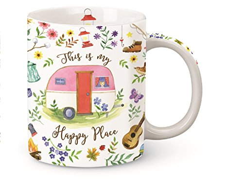 This is My Happy Place Camper Shore Mug Porcelain 13 Ounces