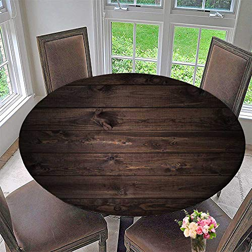 PINAFORE HOME Round Premium Table Cloth Wood Planks Background Perfect for Indoor, Outdoor 59