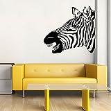 Zebra Head Vinyl Wall Decal African Safari Decor for Home, Office, School Classroom, Zoo or Museum