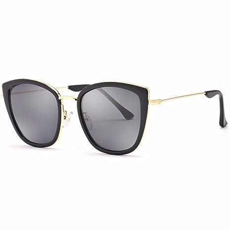 LXKMTYJ Occhiali da sole femmina retrò occhiali da sole viso tondo occhiali da sole big box occhiali da sole, White Box