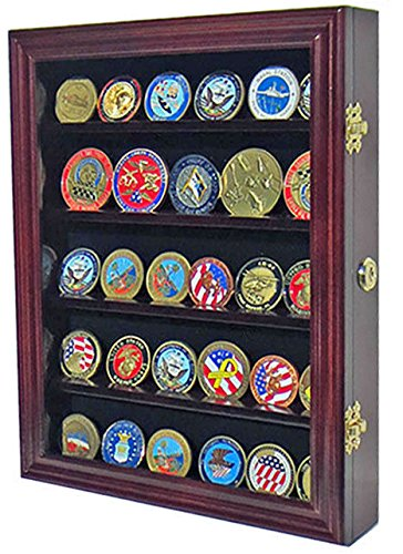 Mahogany Lockable Challenge Coin Display Case Wall Shadow Box Cabinet by Shadow Boxes