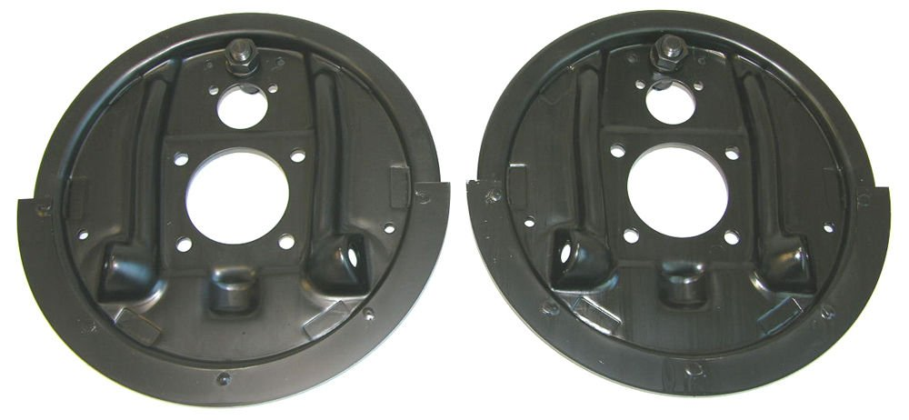 (BAF107 K-12-1) 64-81 GM Rear Axle Drum Brake Factory Backing Plates with Splash Shield Pair NOS