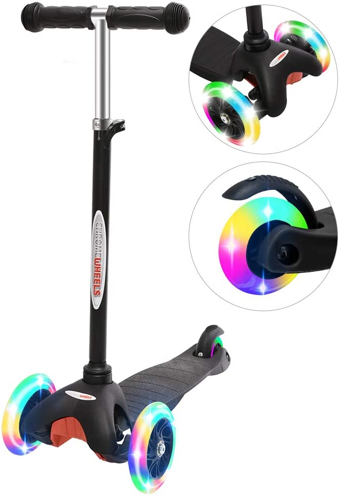 Lean to Steer with LED Flashing Light for Ages 3-6 Girls Boys Deluxe 3 Wheel Scooter for Toddlers 4 Adjustable Height Glider with Kick Scooters ChromeWheels Scooter for Kids
