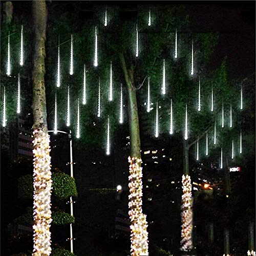 Devancy LED Meteor Shower Rain Lights, Falling Rain Lights 11.8in 8 Tubes Waterproof Snow Falling Raindrop Icicle String Light for Garden Party Wedding Christmas Tree etc (White) (Lights Fall Snow)