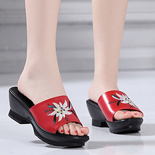 Zapatillas Flor Bordado Plataforma Sandalias Retro del Diapositiva Confort Dedo Cuñas Sandalias pie Rojo Vestido Mujeres SwOdq5w