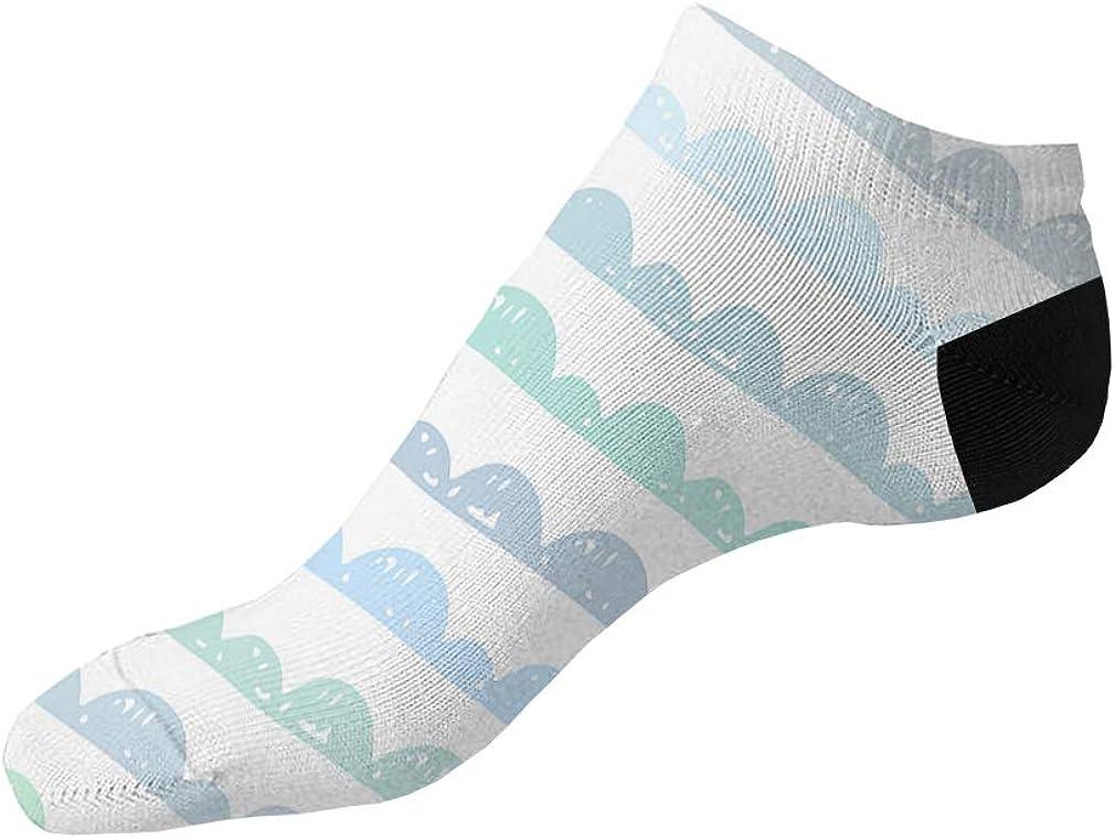 Green White Blue And Grey Pitter Pattern Men-Women Adult Ankle Socks