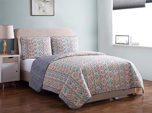 Piece 3 Morgan (Morgan Home Printed 3 Piece Reversible Quilt Set with Shams – All Season Comfort, Available in, Colors & Sizes (Multi Floral, Twin))