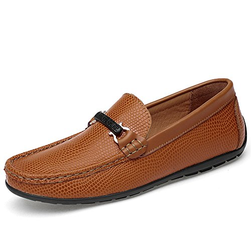 Marrone Uomo Driving Rhino Cricket Texture Morbidi da On Loafer Mocassini Skin da Slip Scarpe qgZ1Bwxw