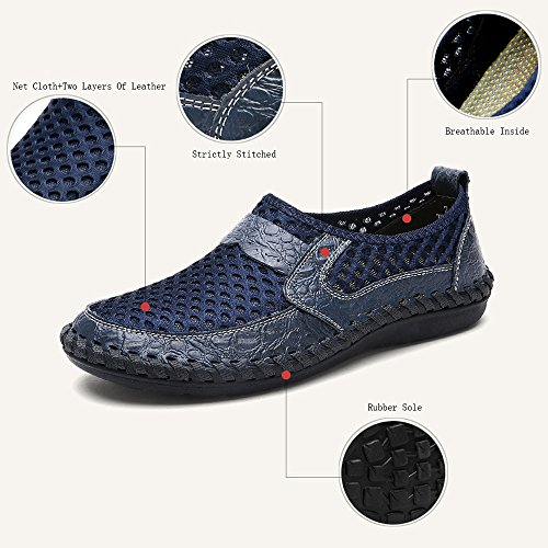 Mesh Scarpe Mocassino Acqua Cuoio Scarpe Blu su Basse Taglia Scivolare Estate Pelle Loafers Scarpe Scarpe Sandali Casual Traspirante LANSEYAOJI da Grande Uomo Scarpe Guida da 6xFg1aqc