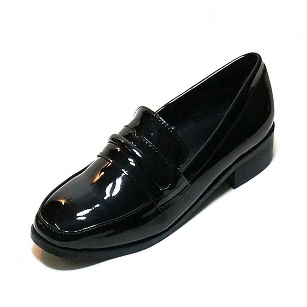 JOYBI Women Square Toe Penny Loafers Low Heel Work Slip On Comfortable Ladies Fashion Flat Dress Shoes