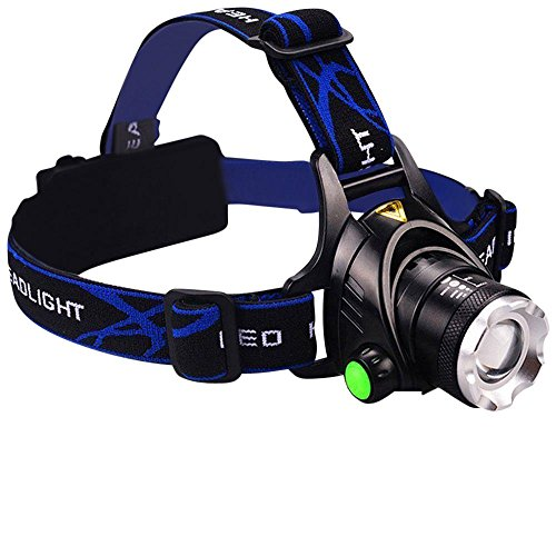 Tech Trio Super Bright LED 1800 Lumens Headlamp with Rechargeable Batteries and Car Charger and AC Charger and USB Cable