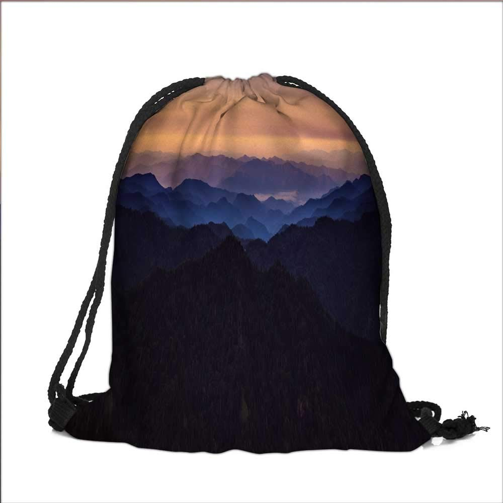 Travel Drawstring Closure Bag A mountain range in the evening Gift Bag Pouches 12''W x 16''H