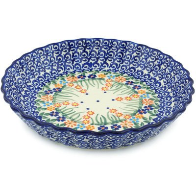 Polish Pottery Fluted Pie Dish 10-inch Blissful Daisy by Polmedia Polish Pottery