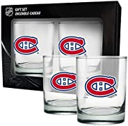 Compatible with Montreal Canadiens Coloured Logo NHL Hockey Rocks Glass Set of Two 13.5 oz in Gift Box