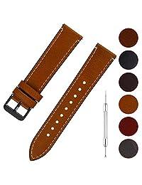 Fullmosa Correa de Reloj de Cuero de Cera Aceite 6 Colores, Retro Pulsera de Reloj de Reemplazo de Piel de Becerro con Pasador de Liberación Rápida 14 mm 16 mm 18 mm 20 mm 22 mm 24 mm