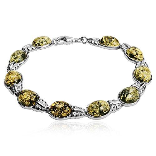 Ovale Bracelet ambre Verte Argent Sterling 19cm