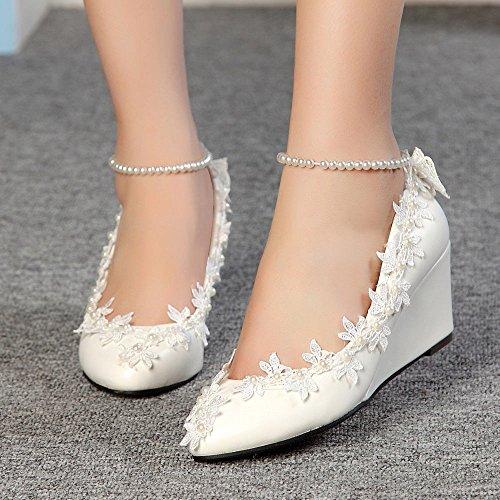 JINGXINSTORE 5cm/5,1cm Wedge faible talons Princesse Perles Dentelle Floral Lady Chaussures pour mariage Femme Chaussures Taille 4–10 blanc