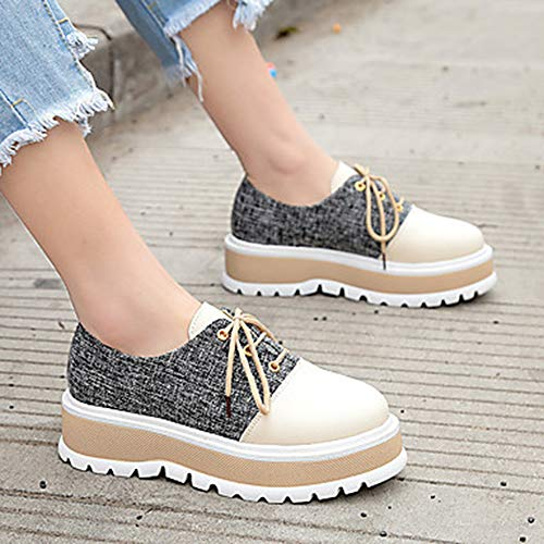 EU36 Sneakers Black 5 Primavera Poliuretano Donna Tonda 5 Estate US5 UK3 Polacche Scarpe Cachi Footing Punta Nero PU Per CN35 Comoda TTSHOES nRx8ZZ