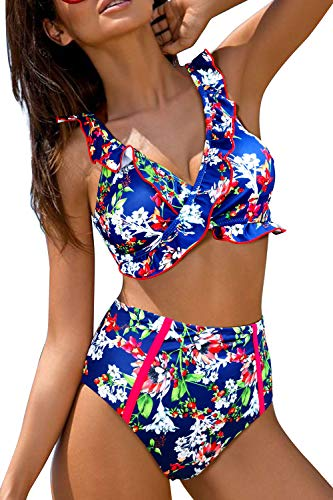 ZD Z-DEAR THE BEST LOVE Soft SNUG Comfy HIGH Waist Bikini Swimwear with Ruffled Floral Pattern and Strape