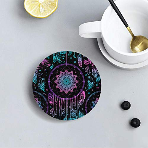 (Drink Coasters Mats Funny Absorbent Spills Coasters,Use as Home Decor and Save Your Furniture From Water Stains, Marks And Scratches-American Indian talisman)