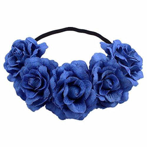 DreamLily Rose Flower Crown Wedding Festival Headband Hair Garland Wedding Headpiece (3-Royal Blue) ()