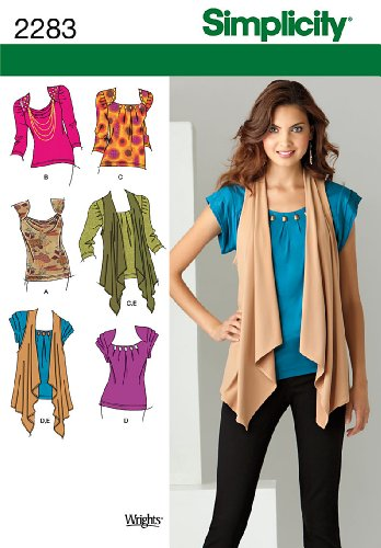 Simplicity Sewing Pattern 2283 Misses' Knit Tops and Vest, H5 (6-8-10-12-14)