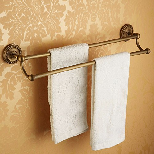 Hlluya Bathroom Accessory Set The Antique Brass Towel Rack Double bar Bathroom Towel bar Antique Bath Towel Rack Extension Fake a Penalty Ten,60cm