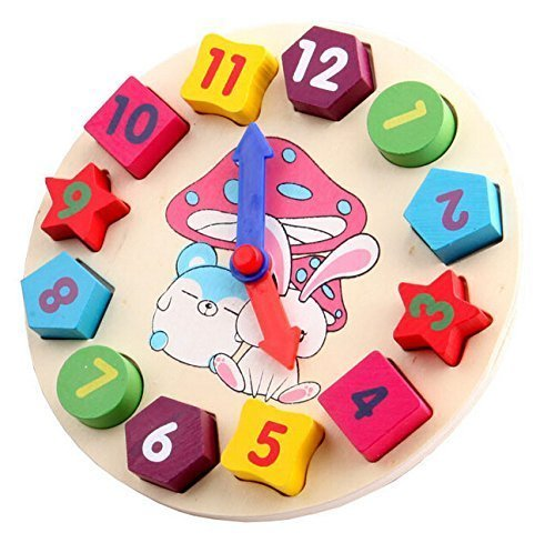 Wooden Shape Sorting Clock Teaching Clocks for 2 to 4 Years Old (Wooden Teaching Clock)